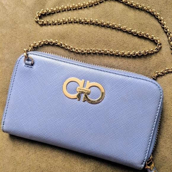 Salvatore Ferragamo Handbags - Ferragamo double gancio zip around wallet on chain